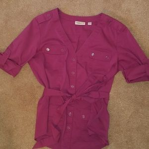 New York & Company magenta button down blouse